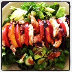 Grilled Peach Caprese Chicken Salad