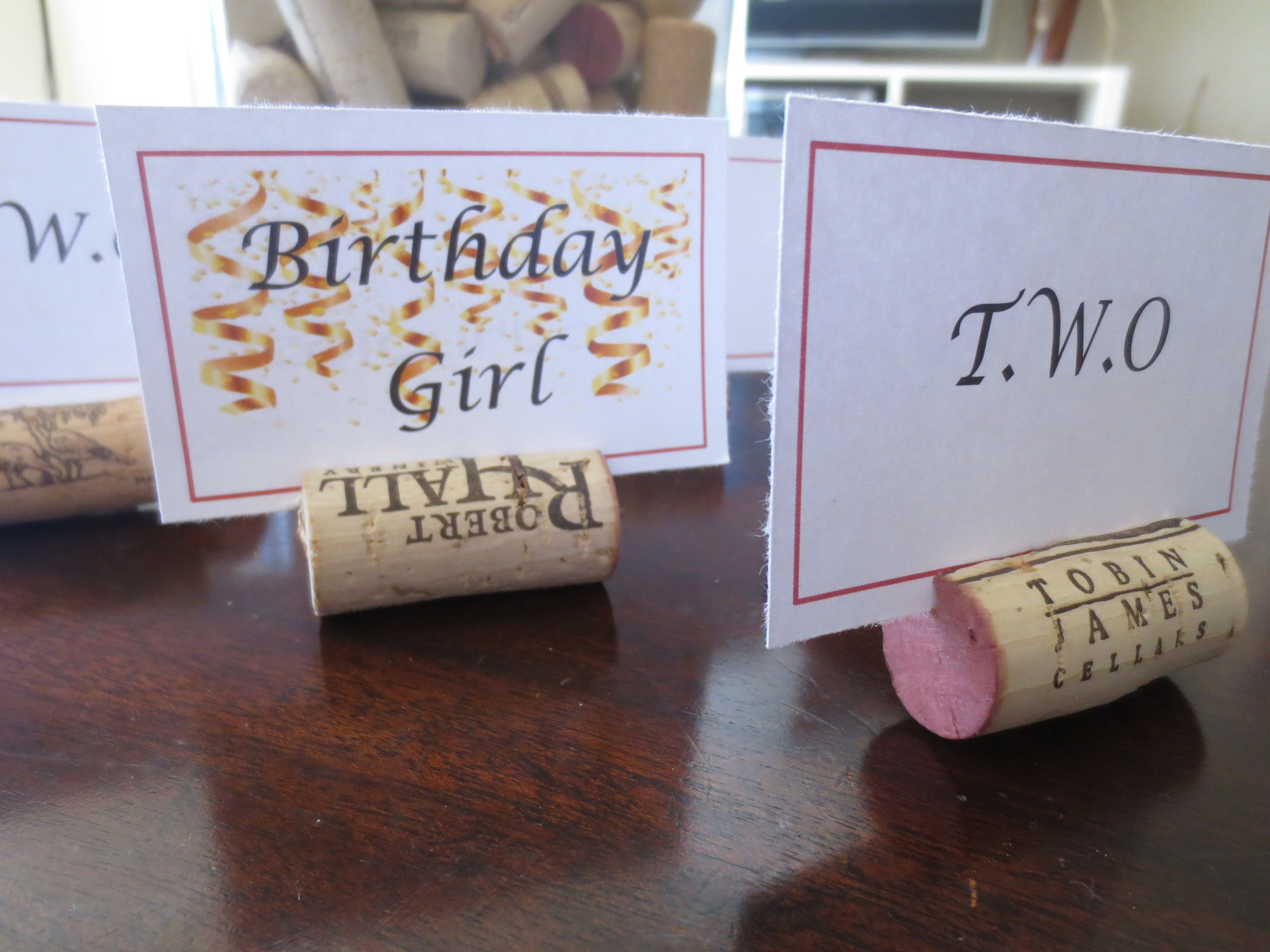 Wine Cork Place Card Holders T W O