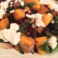 Roasted Butternut Squash with Swiss Chard