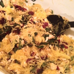 Spaghetti Squash with Ground Turkey, Swiss Chard, Cranberries & Spicy Dijon, Lemon Vinaigrette